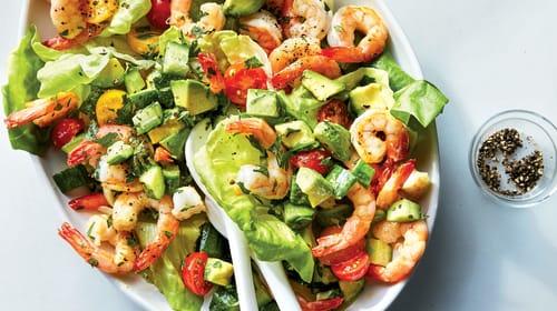 Салат по кетогенной диете с морепродуктами